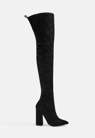 Black Block Heel Faux Suede Over The Knee Boots | Missguided