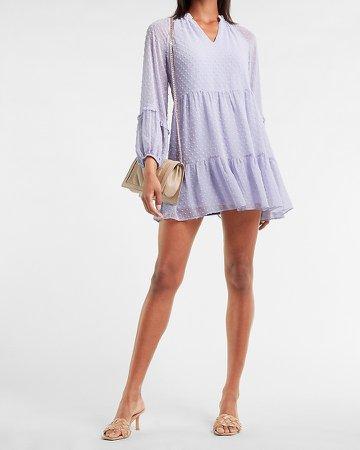 Textured Clip Dot Tiered Trapeze Dress