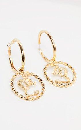 Gold Medium Snake Charm Hoop Earring | PrettyLittleThing