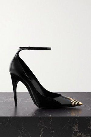 Embellished Patent-leather Pumps - Black