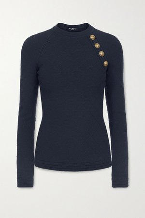 Midnight blue Button-embellished jacquard-knit sweater | Balmain | NET-A-PORTER