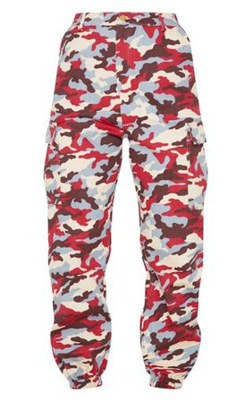 Red Camo Pocket Detail Cargo Trouser | PrettyLittleThing