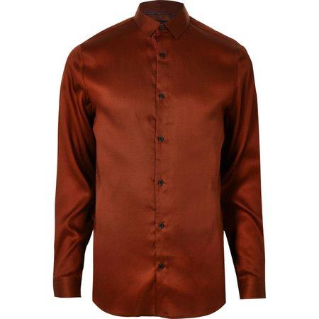 Red button-up long sleeve shirt - Long Sleeve Shirts - Shirts - men