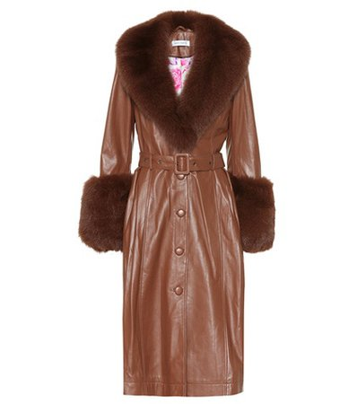 Foxy fur-trimmed leather coat