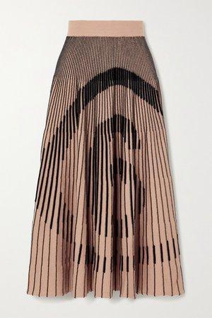 Ribbed Intarsia Cotton-blend Midi Skirt - Beige