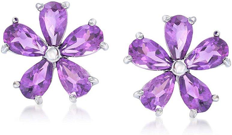 Amazon.com: Ross-Simons 2.00 ct. t.w. Amethyst Flower Earrings in Sterling Silver: Jewelry