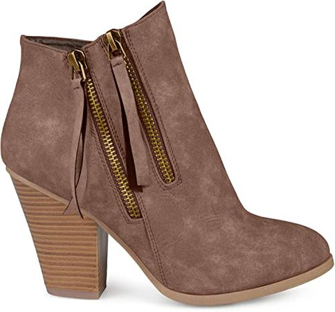 Amazon.com | Brinley Co. Womens Faux Leather Stacked Wood Heel Double Zipper Booties Brown, 9 Regular US | Ankle & Bootie