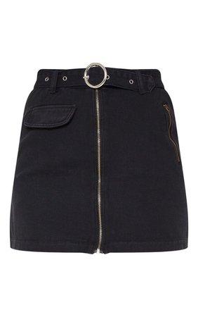 Black Zip Through Belted Denim Skirt   PrettyLittleThing