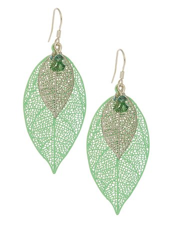 Green and Silver Filigree Leaf Earrings Large - Melanie Hand Design Jewellery