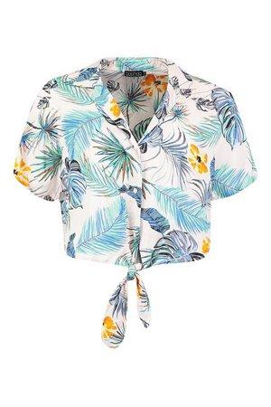 Tropical Print Tie Front Shirt | Boohoo