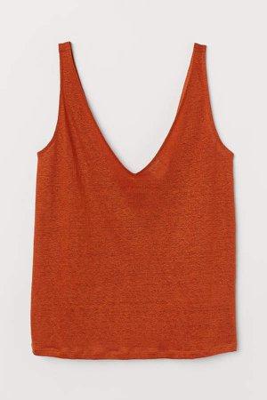 Linen Tank Top - Orange