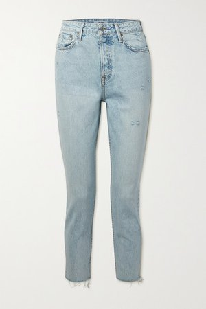 Karolina Frayed High-rise Skinny Jeans - Light denim