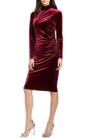 Chelsea28 Long Sleeve Mock Neck Velvet Dress | Nordstrom