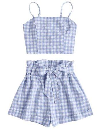 Blue gingham set