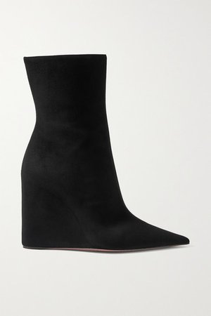 Pernille Suede Wedge Ankle Boots - Black