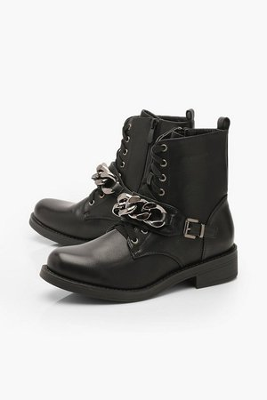 Chain Detail Lace Up Hiker Boots | Boohoo
