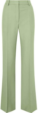 Silk-blend Crepe Straight-leg Pants - Mint