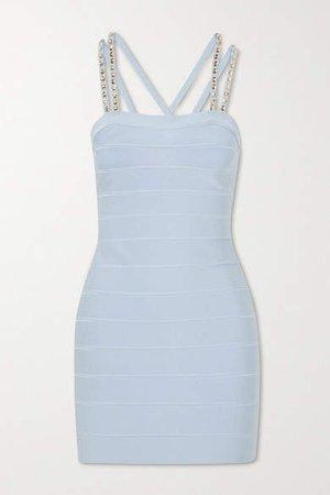 Swarovski Crystal-embellished Bandage Mini Dress - Blue