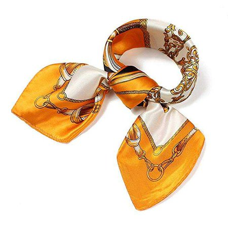 QBSM Womens Orange Gold Chain Satin Silk Feeling Formal Square Neck Scarf Head Hair Scarfs Wraps 23.6 inch at Amazon Women's Clothing store: