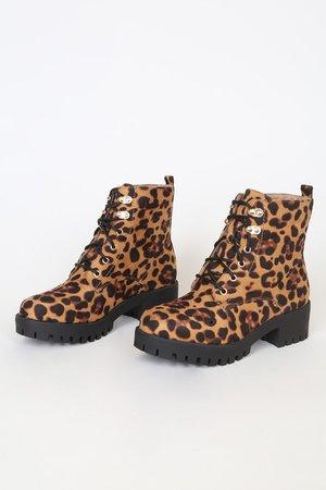 Leopard Ankle Boots - Lace-Up Boots - Faux Leather Combat Boots - Lulus