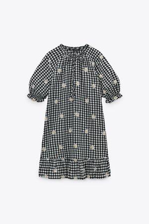 EMBROIDERED GINGHAM DRESS | ZARA South Korea