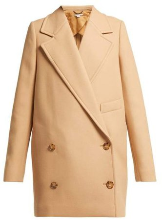 Double Breasted Wool Twill Peacoat - Womens - Camel