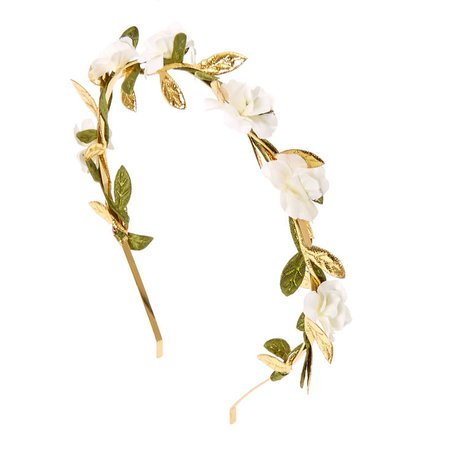 White Flower & Leaves Gold Headband | Claire's US