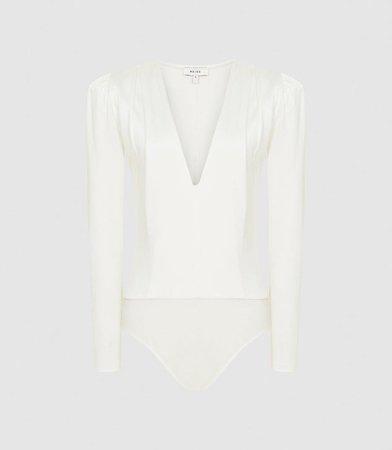 Valeria Ivory Long Sleeved Plunge Bodysuit – REISS