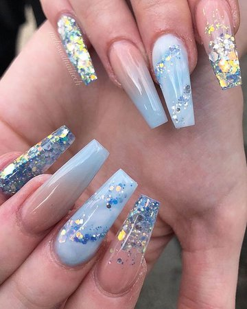 Cute blue ombre nails, glitter nails, and light blue nails design
