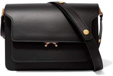 Trunk Medium Leather Shoulder Bag - Black
