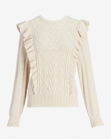 Ruffle Cable Knit Sweater | Express