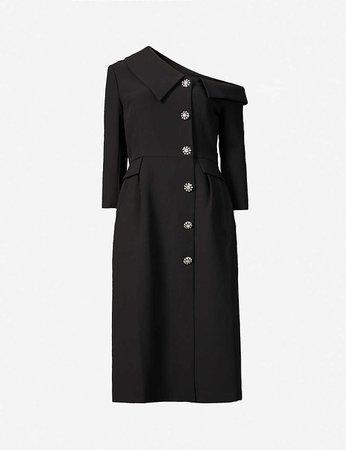 HUISHAN ZHANG - Shiloh asymmetric-neckline crepe midi dress   Selfridges.com