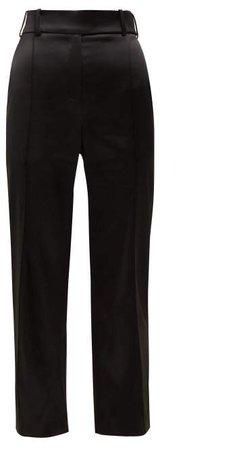 Slim Fit Satin Trousers - Womens - Black