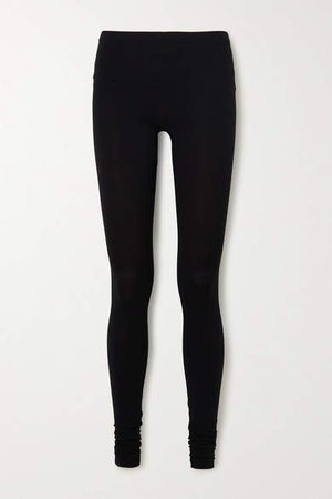 Lilies Stretch-jersey Leggings - Black