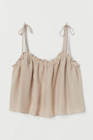 Short Ruffle-trim Camisole Top - Beige