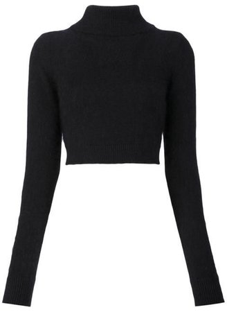 black cropped turtleneck sweater