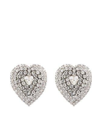 Alessandra Rich crystal-embellished Heart clip-on Earrings - Farfetch