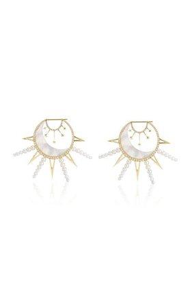 18k Yellow Gold La Luna Earrings By Sorellina | Moda Operandi