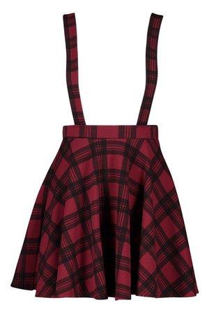 Tartan Check Pinafore Skirt | Boohoo