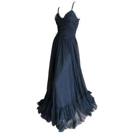 Dolce and Gabbana D&G Vintage Goth Black Morticia Gown with Flowing Long Skirt 44 For Sale at 1stDibs
