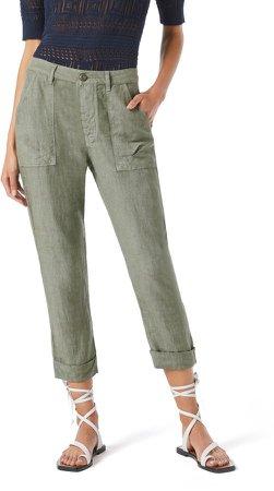 Le Beau High Waist Crop Linen Pants