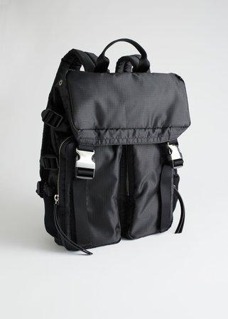 Functional Nylon Backpack - Black - Backpacks - & Other Stories