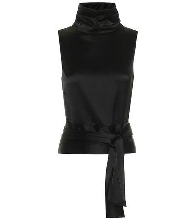 Galvan, Luna Black satin blouse Top
