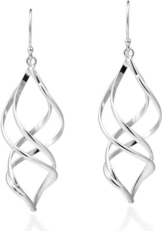 Amazon.com: Trendy 3D Spiral .925 Sterling Silver Dangle Earrings: Jewelry