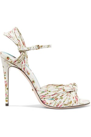 Gucci | Knotted floral-print leather sandals | NET-A-PORTER.COM