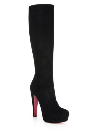 Black Christian Louboutin Knee High Heel Boots