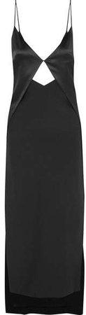 Cutout Silk-charmeuse Maxi Dress - Black