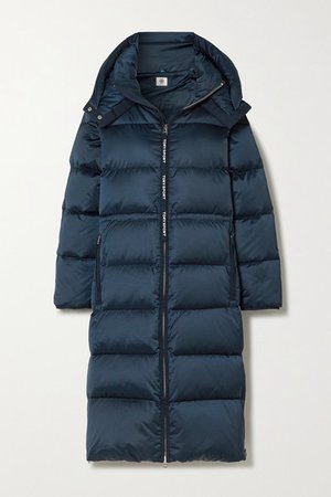 Hooded Quilted Shell Down Coat - Navy