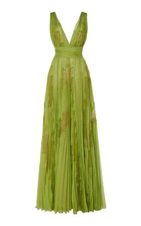 Zuhair Murad Yurui Printed Silk-Chiffon Gown