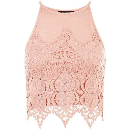 Crop Top- Pink Lace